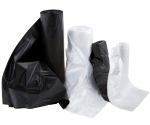 Black and clear trash can liners