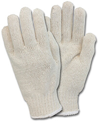 Cotton/polyester and 100 percent cotton string-knit gloves.